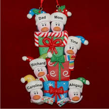 Penguin Family of 6 with Christmas Gifts Christmas Ornament
