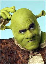 here is a first look at james in full shrek costume and make up
