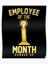 Employee Of The Month Trophy Employee Of The Month Runner Up Participation Trophy Poster