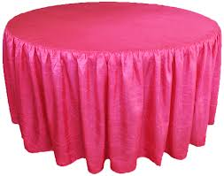 60 round ruffled fitted crush taffeta tablecloth with skirt fuchsia 63609 1pc pk