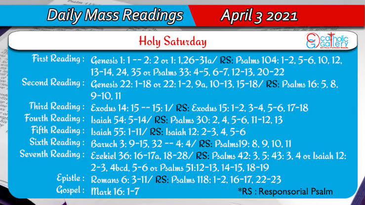 Catholic Daily Mass Reading Online 3rd April 2021