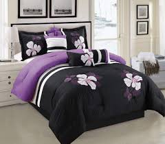 sweet looking purple and black duvet cover com white comforter set fl bed in a bag queen size bedding home kitchen