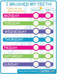 Free Printable Tooth Brushing Chart February Is National Childrens Dental Health Month Three