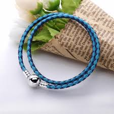 czech pandora mixed blue woven double leather charm bracelet 72a36 97ca4