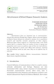 Pdf Advertisement Of School Slogans Semantic Analysis