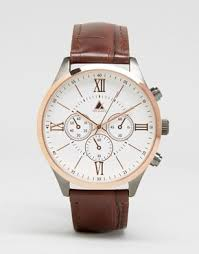 men s watches digital designer watches asos asos watch in rose gold mixed metal finish brown croc strap