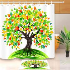 shower curtain set tree of life colorful eco tree bathroom mat waterproof fabric