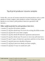 Line Producer Sample Resume Unique Top 44 Print Producer Resume Samples