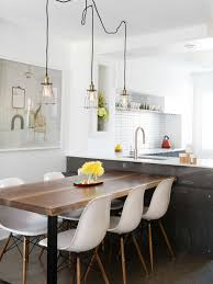 exposed lighting. inspiration for a contemporary dark wood floor and brown kitchendining room combo remodel exposed lighting l