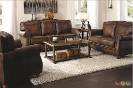 brown leather sofa sets. Unique Sets Montbrook Traditional Brown Genuine Leather Sofa Set Rolled Arms Regarding  Sofas With Nailhead Trim And Sets