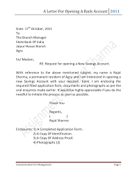 Sample letter to the bank to open an current account. Letter For Opening A Bank Account