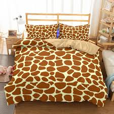 giraffe brown yellow stripe pattern printing polyester bedding sets pillow case quilt cover duvet cover no filler bedding 3d duvet sets bedding sets