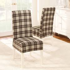 white lacquer armless chair using white brown plaid pattern slipcover with square tapered legs beautiful