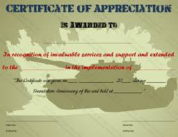 Military Certificate Templates Certificate of Appreciation Template for Military 9