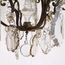 antique crystal french bronze chandelier