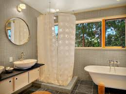 wonderful round shower curtain rod and polka dots