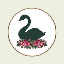Black Swan Chart Pattern Black Swan Cross Stitch Pattern Flowers Xstitch Bird Swan