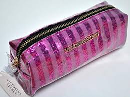victoria s secret makeup cosmetic bag pink stripes plastic glitter by victoria s secret