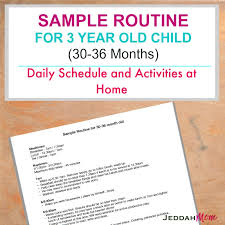 Daily Routine Chart For 9 Year Old Sample Routine For A 3 Year Old Child
