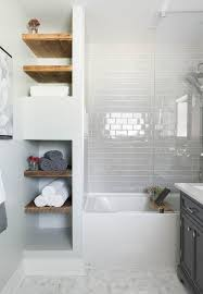 Built in bathroom shelves bathroom contemporary with open storage marble  floor subway tile