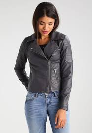 noisy may nmrebel dark grey leather jackets for women
