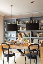 home office office tables office space interior. ARTICLE: The Plain Wood Table   A Tribute, Great Idea For Our New Business Office  Space :). Inventory On The Back Wall A Table As Desk Love Lighting Home Tables Interior T