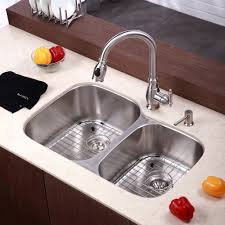 kraus kbu24 stainless steel 32 double basin 16 gauge stainless from kraus stainless steel undermount kitchen source faucet com