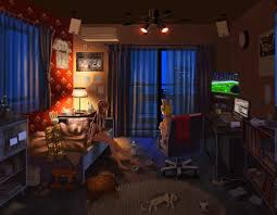 wallpaper anime room house vocaloid curtains kagamine rin