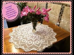how to crochet big 42 round tablecloth with flowers part 1 of 4