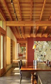 Long pendants + wood ceiling