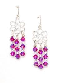 03 04 085 pink crystal chandelier earrings filigree fuchsia