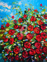 rose bushes painting 50x40x0 8 cm