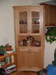 Dining Room Corner Hutch Cabinet Surprising Unfinished Wooden Corner Cabinet With Double Glass Top