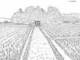 鎮守の森の田園風景の塗り絵の下絵画像 раскраски 塗り絵田園
