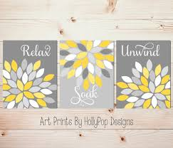 on wall art set of 3 bathroom with yellow gray wall art set of 3 bathroom prints bathroom wall
