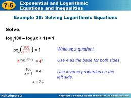 example 3b solving logarithmic equations