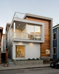 Single Family Home in Compact House Design: Wooden Horizontal Wall Siding  With Sleek Plastered Wall