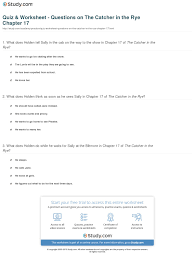 quiz worksheet questions on the catcher in the rye chapter  print the catcher in the rye chapter 17 summary quotes worksheet