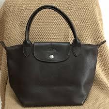 details about longchamp veau foulonne dark brown moka small leather shoulder tote purse bag