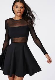 Mesh Sleeve Dress Oasis Amor Fashion Mesh Insert Long Sleeve Skater Dress Black