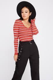 <b>Striped V</b>-<b>Neck</b> Knit <b>Long Sleeve</b> – Urban Planet