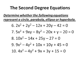 the second degree equations determine whether the following equations represent a circle parabola ellipse