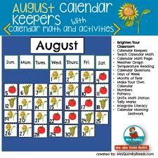 August Calendar Number Cards Calendar Pocket Chart Keepers