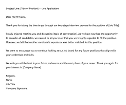 Interview Letters Samples Post Interview Rejection Letter E Mail 14 Samples