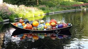 float boat chihuly at new york botanical garden bronx ny stock photo