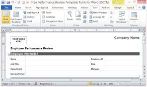 Template For Employee Performance Review Free Performance Review Template Form For Word 2007
