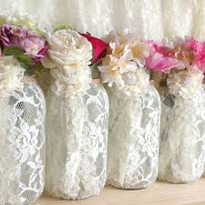 Decorative Jars And Vases 100 ivory lace covered ball mason jar from PinKyJubb on Etsy My 75
