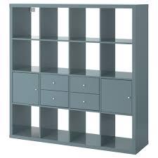 KALLAX shelf unit with 4 inserts, high-gloss gray-turquoise Width: 57