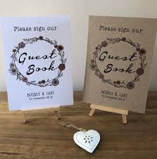 A4 A5 Boho Wedding Sign Personalised Sign Our Guest Book