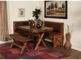 Dining Tables, Awesome Brown Rectangle Rustic Wooden Corner Dining Table  Set Stained Design: best ...
